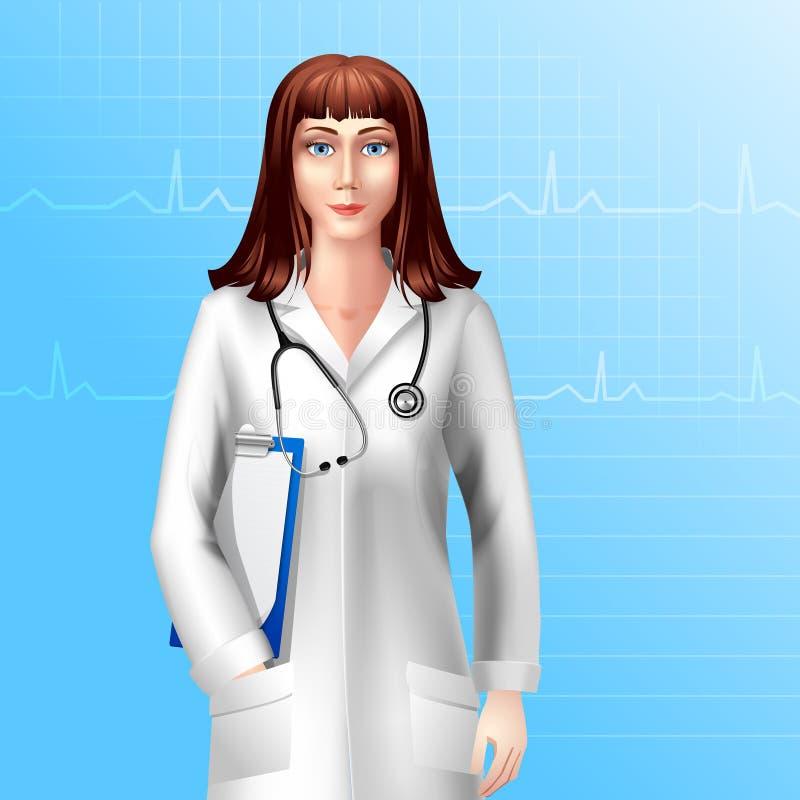 Kvinnlig doktor Character stock illustrationer