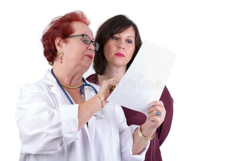 Kvinnlig doktor Discussing Ressults med den kvinnliga patienten arkivfoto