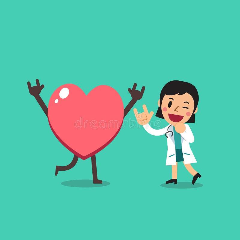 Kvinnlig doktor för vektortecknad filmtecken med stor hjärta royaltyfri illustrationer
