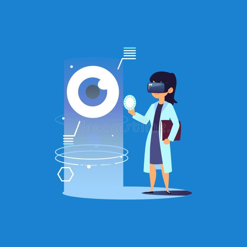 Kvinnlig doktor med VR-exponeringsglas som ser det mänskliga ögat royaltyfri illustrationer