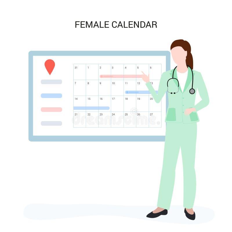 Kvinnlig doktor nära den kvinnliga kalendern Gör en tidsbeställning direktanslutet vektor illustrationer