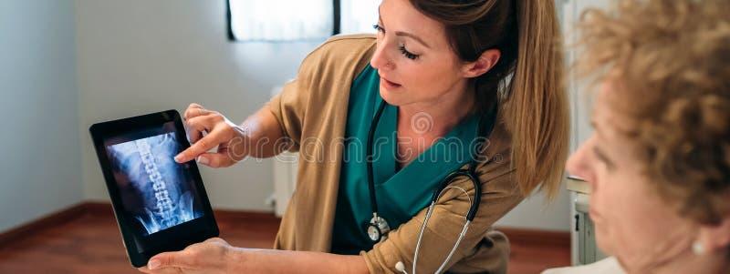 Kvinnlig doktor som visar en röntgenstråle på minnestavlan royaltyfri bild