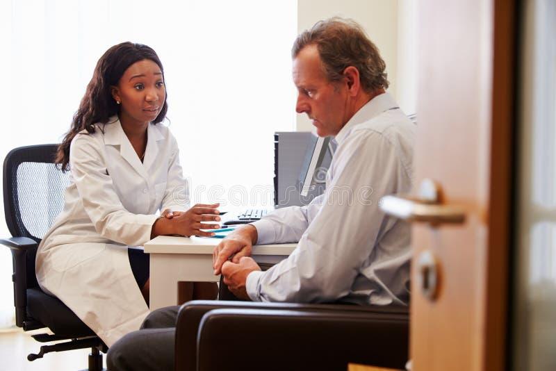 Kvinnlig doktor Treating Patient Suffering med fördjupning arkivbilder