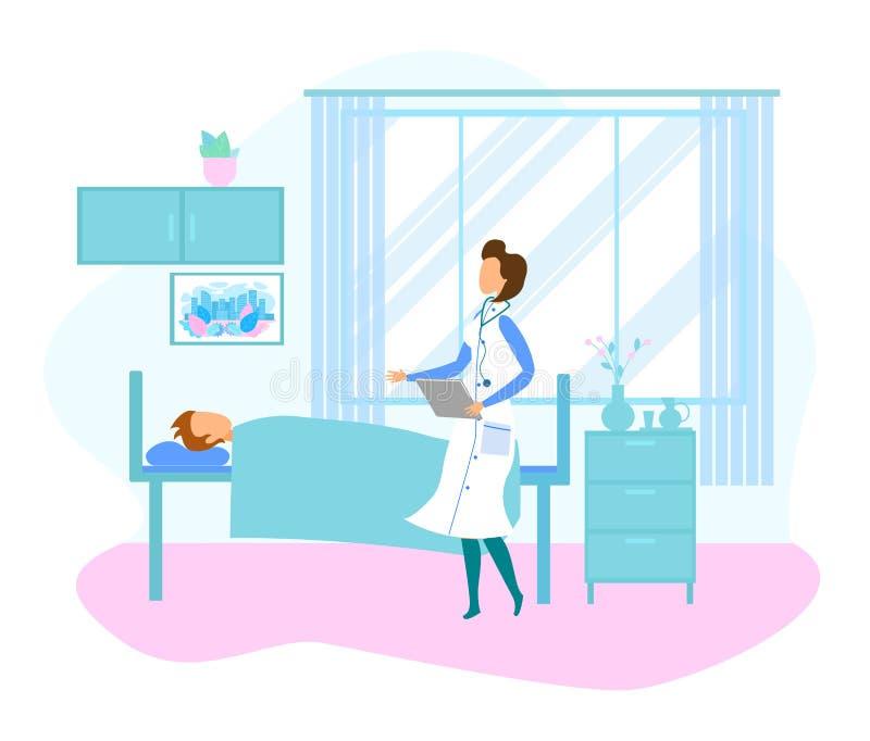 Kvinnlig doktor Visit Patient Lying i sjukhussäng royaltyfri illustrationer