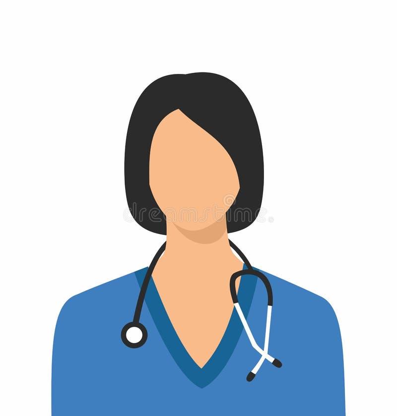 Kvinnlig doktorssymbol Sjuksköterska Symbol royaltyfri illustrationer