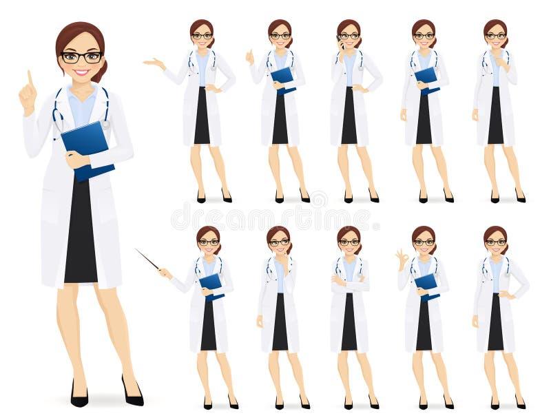 Kvinnlig doktorsuppsättning vektor illustrationer