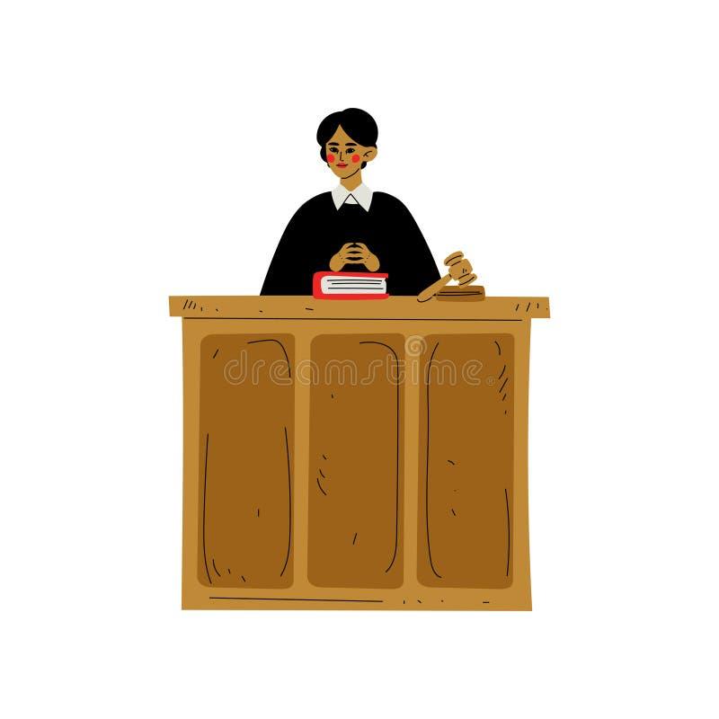 Kvinnlig domare Character Presiding över domstolsförhandling i domstolsbyggnadvektorillustration vektor illustrationer