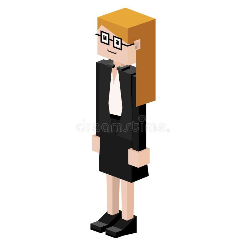 kvinnlig domare för lego med exponeringsglas stock illustrationer