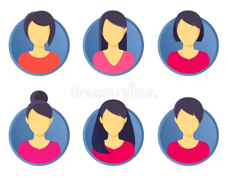 Kvinnlig för symbol för Avatarprofilbild fastställd incuding också vektor för coreldrawillustration royaltyfri illustrationer