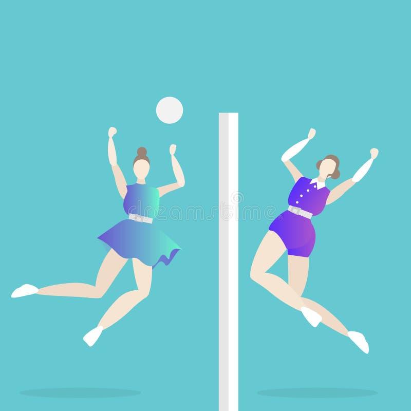 Kvinnlig för volleybolllek royaltyfri illustrationer