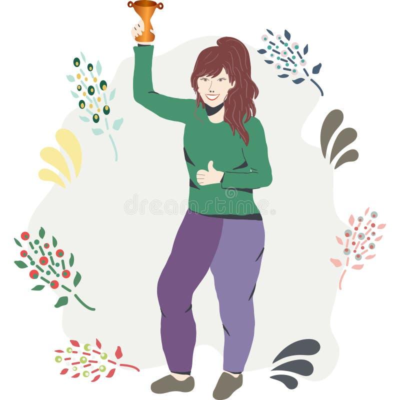 Kvinnlig fira seger med en guld- trofé royaltyfri illustrationer