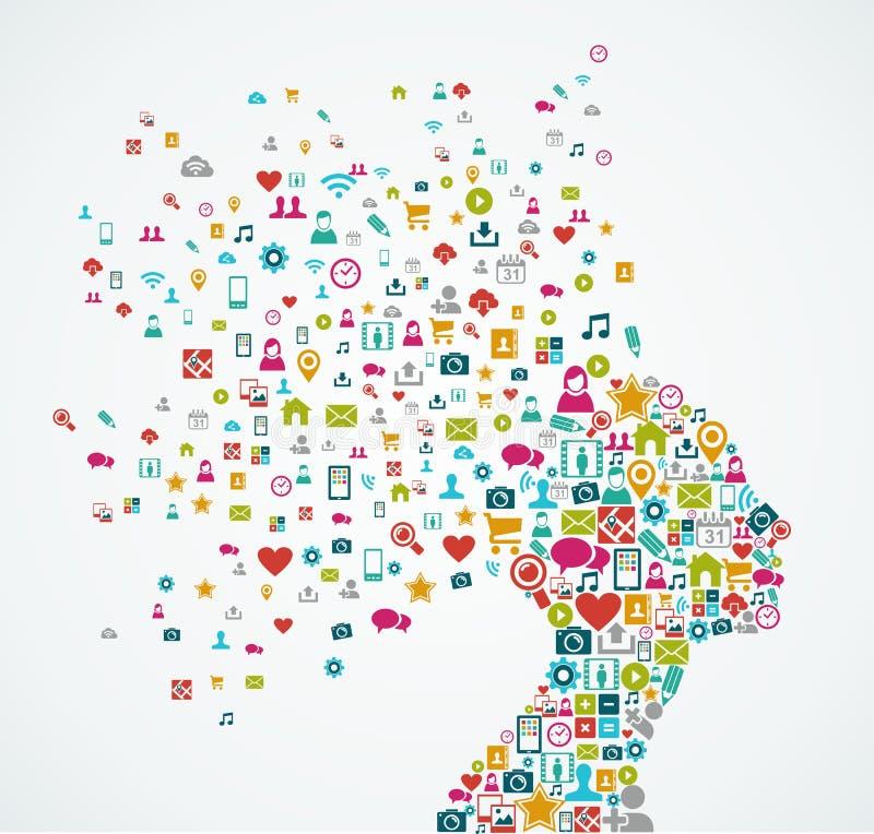 Kvinnlig form för mänskligt huvud med sociala massmediasymboler de royaltyfri illustrationer