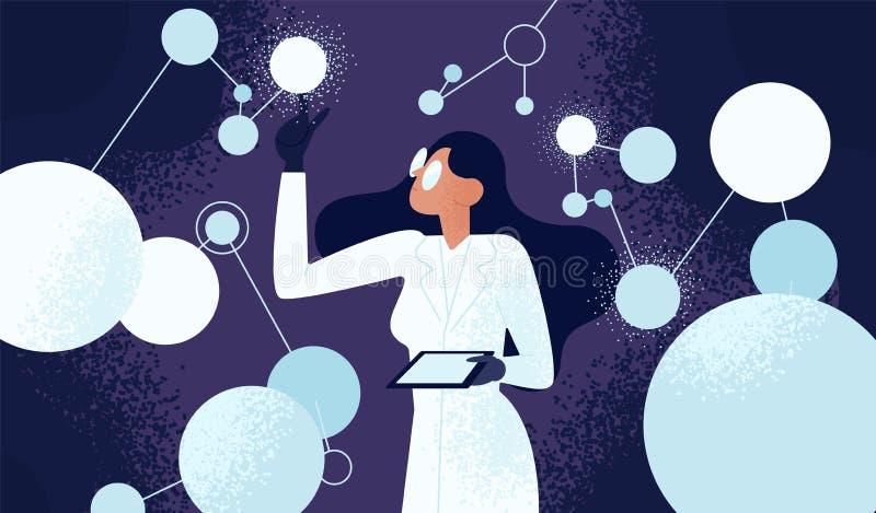 Kvinnlig forskare i labblag som kontrollerar konstgjorda neurons förbindelse in i nerv- nätverk Computational neuroscience royaltyfri illustrationer