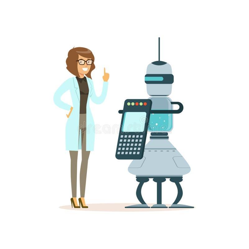 Kvinnlig forskare som arbetar med roboten i ett modernt laboratorium, för begreppsvektor för konstgjord intelligens illustration stock illustrationer