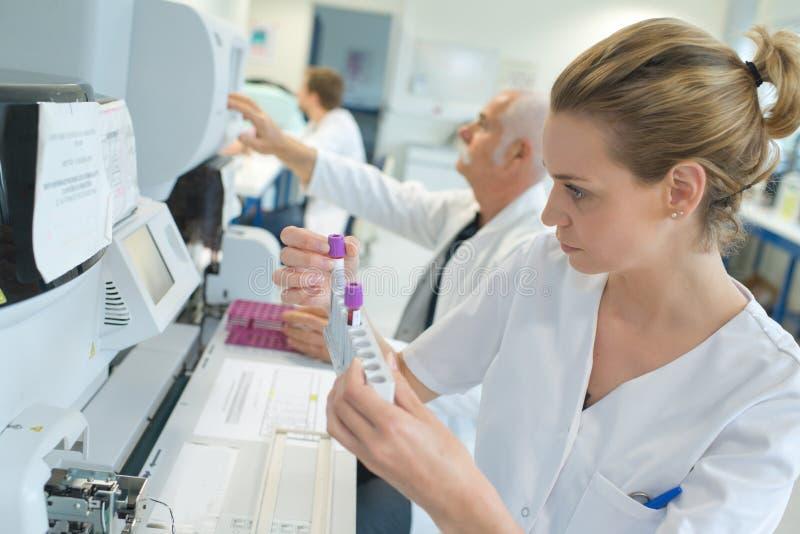 Kvinnlig forskare som utför prov i laboratorium fotografering för bildbyråer