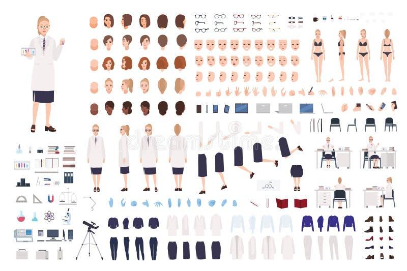 Kvinnlig forskarekonstruktör eller vetenskaplig sats för laboratorium DIY Samling av kvinnakroppsdelar, ansiktsuttryck stock illustrationer