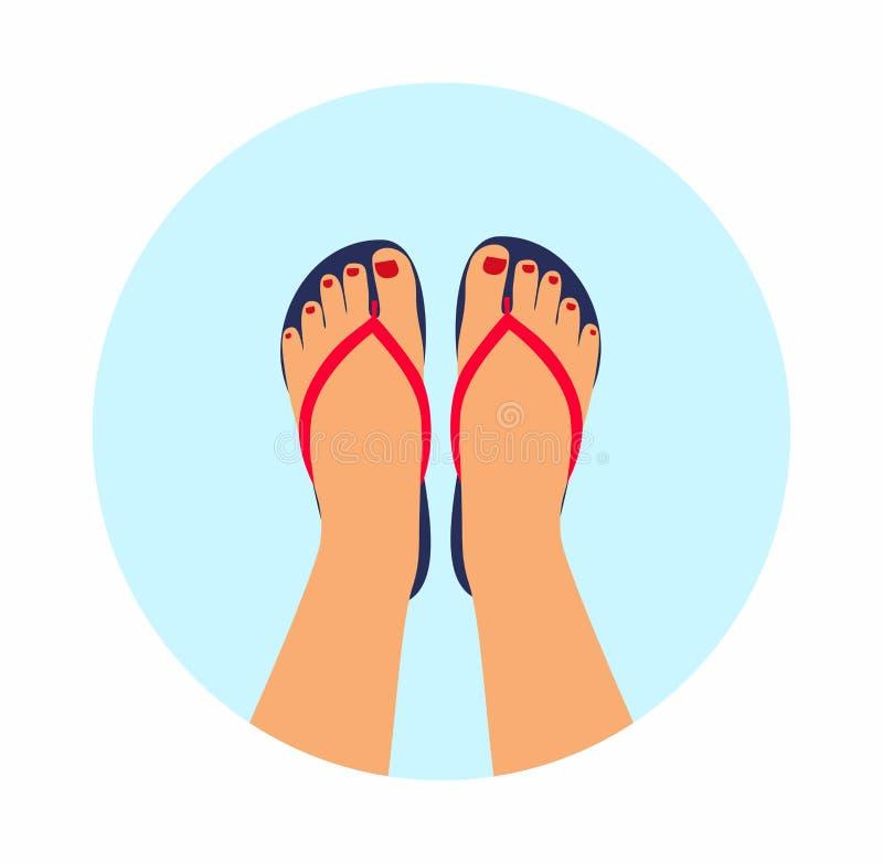 Kvinnlig fot för vektorillustration med en pedikyr i sommarbadskorna sommar - begreppsbakgrund stock illustrationer