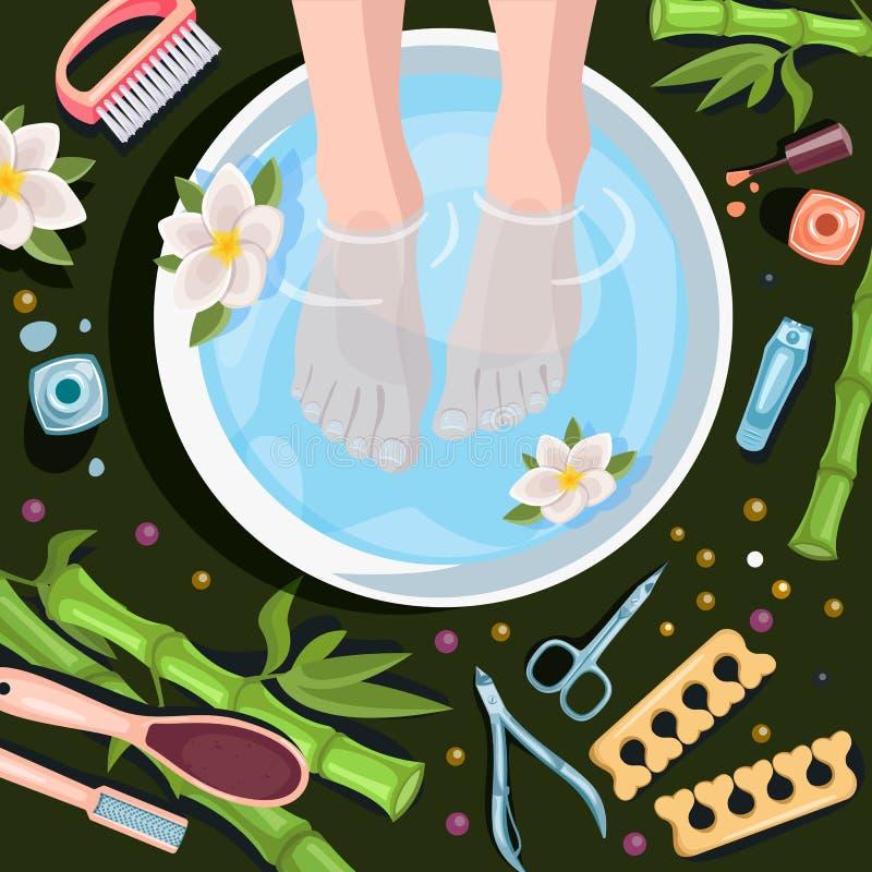 Kvinnlig fot i bunke med vatten, illustration f?r b?sta sikt Spa tillv?gag?ngss?tt, pedikyr, kopplar av Begrepp f?r sk?nhetsalong stock illustrationer