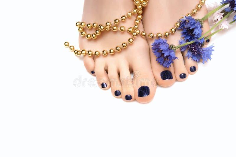 Kvinnlig fot med den blåa pedikyr och blomman på vit bakgrund royaltyfria foton