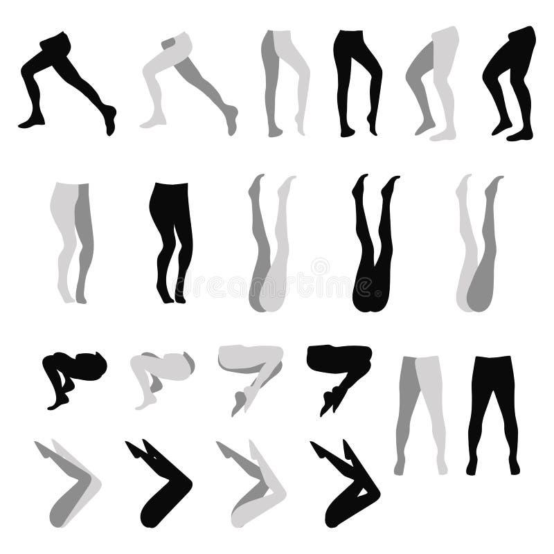Kvinnlig fot uppsättning för varianter för svart för kontur för damasker för benstrumpbyxorstrumpor som isoleras på den vita bakg stock illustrationer