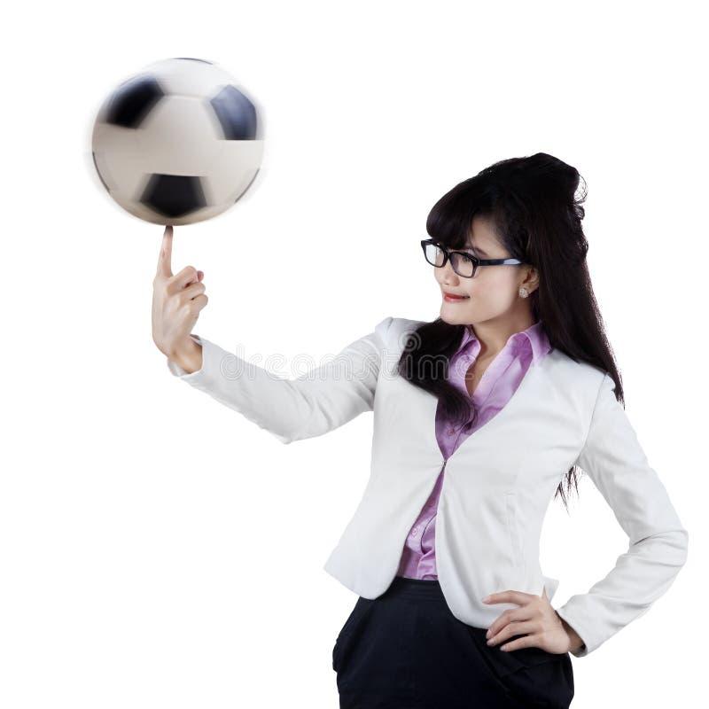 Kvinnlig fotbollchef arkivfoto