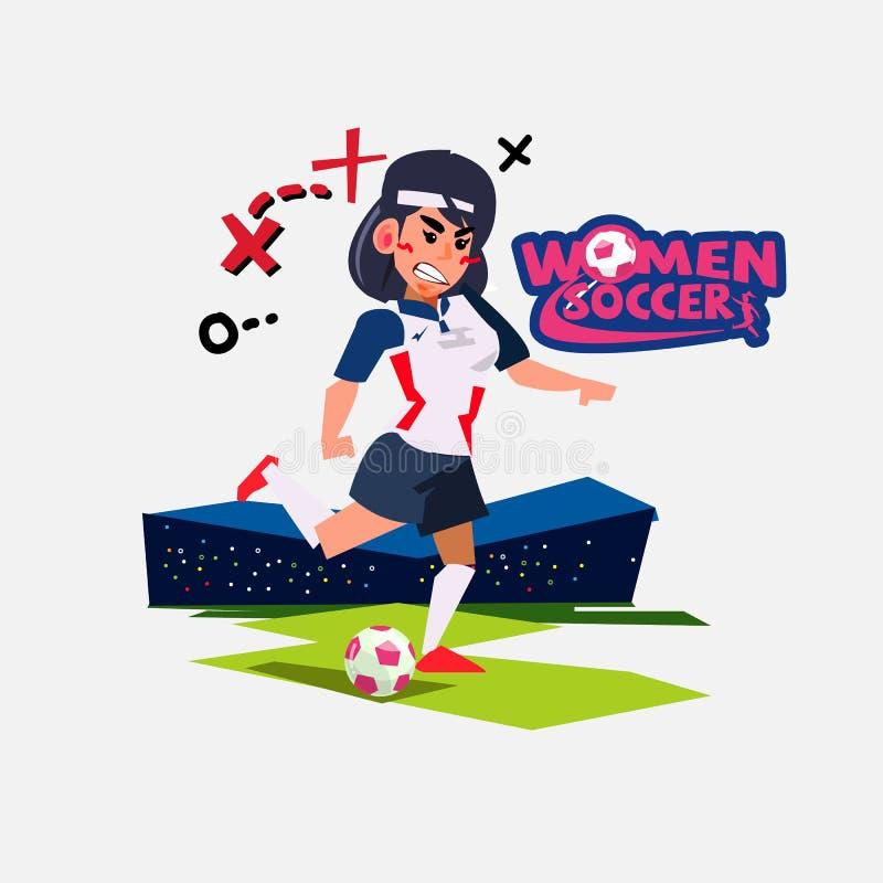 Kvinnlig fotbollspelare på fältet i stadion med logotypen stock illustrationer