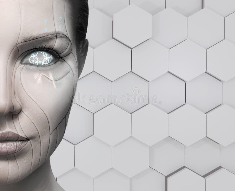 Kvinnlig framsida för härlig cyborg begrepp isolerad teknologiwhite arkivbilder
