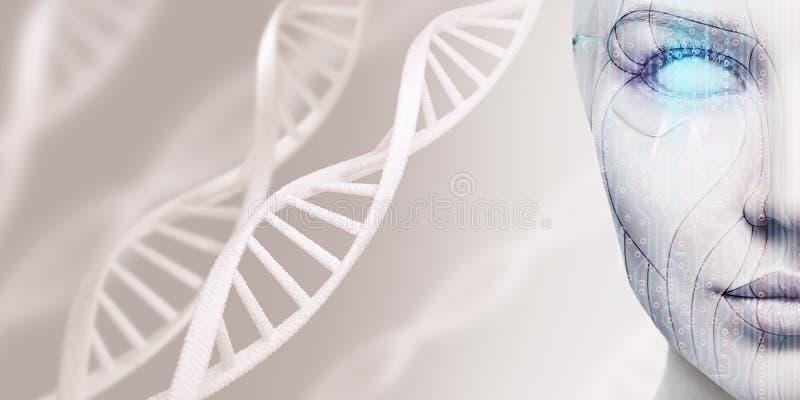 Kvinnlig framsida för härlig cyborg bland DNAstammar royaltyfri bild