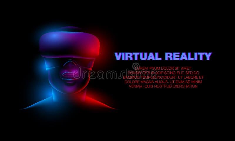 kvinnlig framsida för neon 3d med virtuell verklighetexponeringsglas Flicka och virtuell verklighetteknologibaner royaltyfri illustrationer