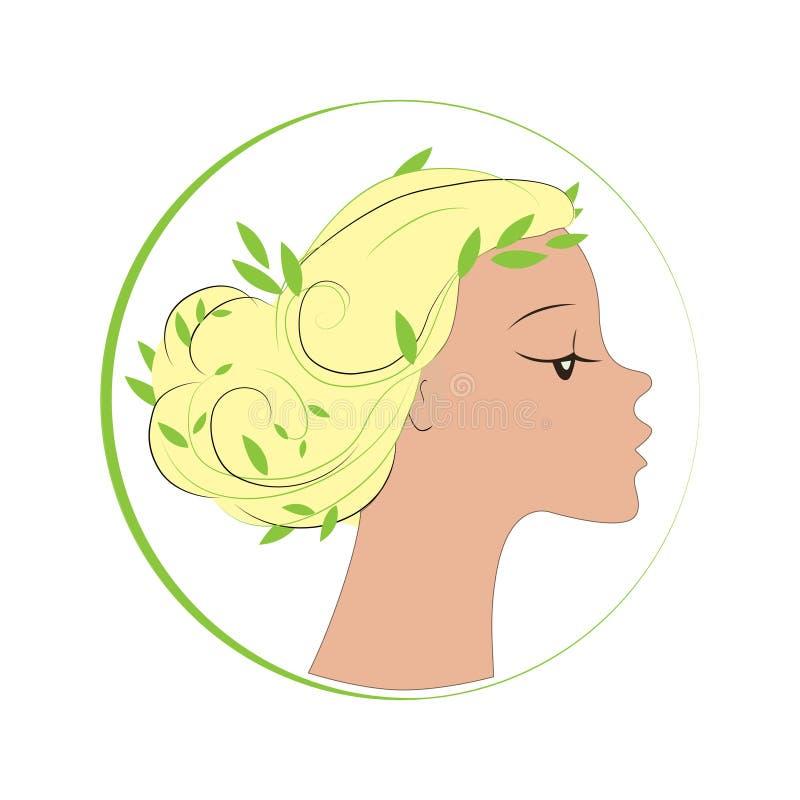 Kvinnlig framsida i cirkelform Kvinnan med gräsplan lämnar hår Vektorlogo-, etikett- eller emblemdesignbeståndsdelar royaltyfri illustrationer