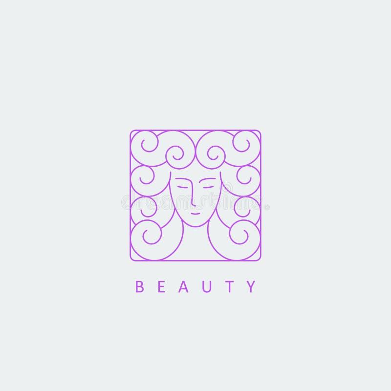 Kvinnlig framsida med logo för lockigt hår vektor illustrationer