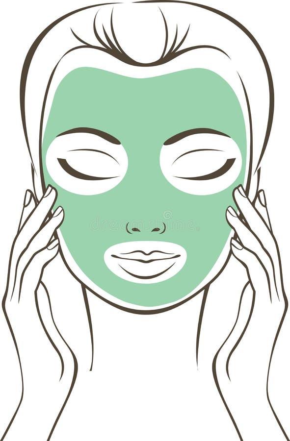 Kvinnlig framsida med skönhetmaskeringen stock illustrationer