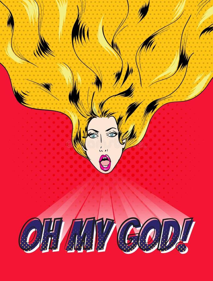 Kvinnlig framsida med skinande hår som säger oj min gud royaltyfri illustrationer