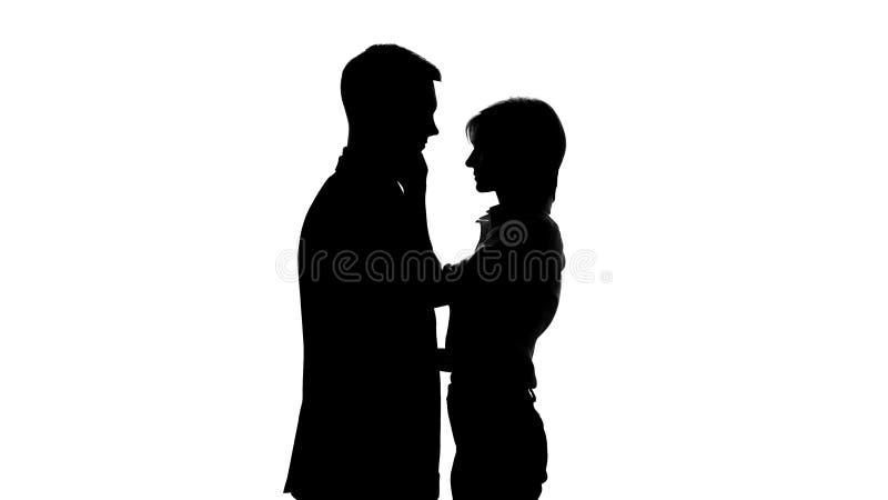 Kvinnlig framstickandeskugga som förbereder sig att kyssa hennes underordnade anställd, kontorsromans stock illustrationer