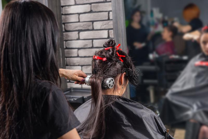 Kvinnlig frisör som borstar och torkar genom att använda handen - rymd slagdrye arkivfoton