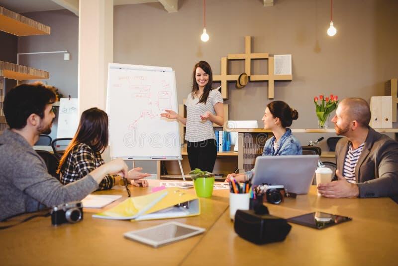Kvinnlig grafisk formgivare som har diskussion med coworkers arkivfoton