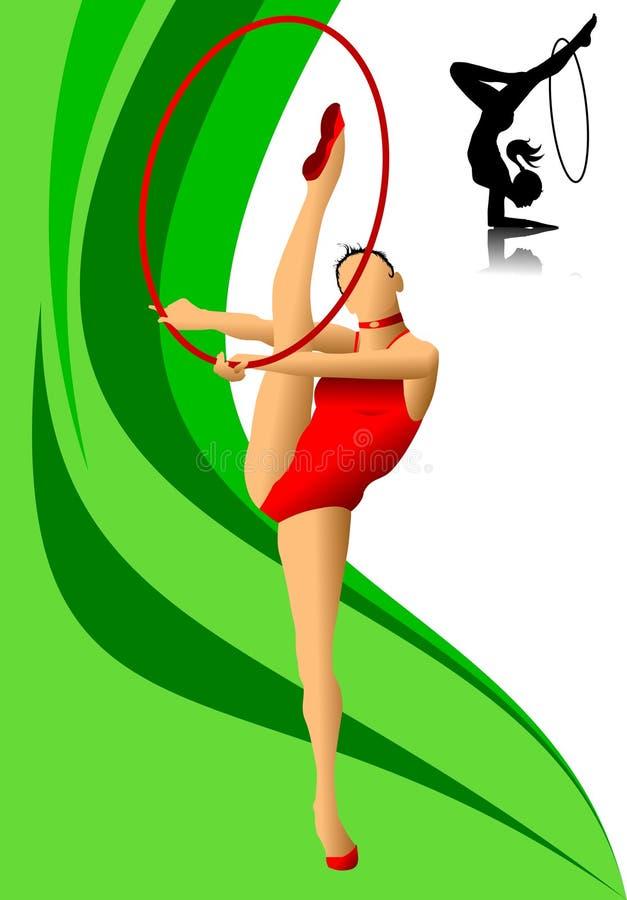 Kvinnlig gymnast i rött vektor illustrationer