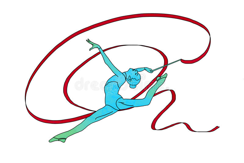 Kvinnlig gymnast med bandet på vit bakgrund stock illustrationer