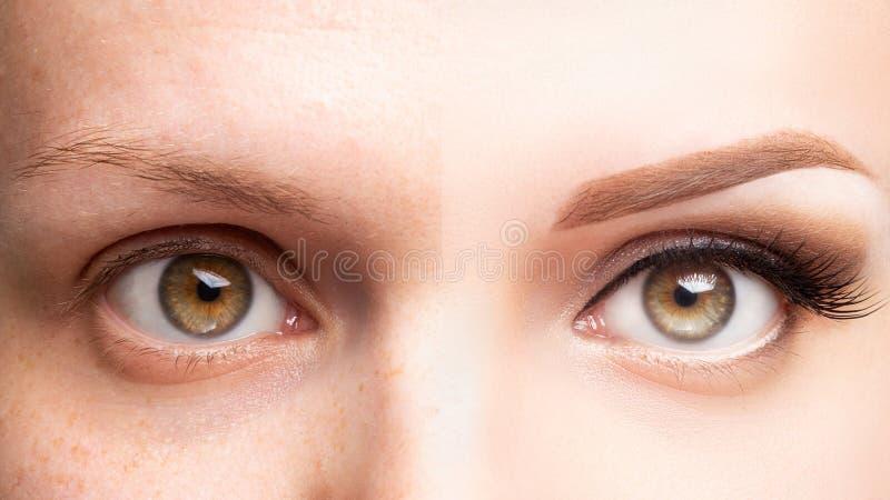 Kvinnlig härlig makeup för ögon före och efter, ögonfransförlängning, ögonbryneyeliner som microblading, cosmetology arkivfoton