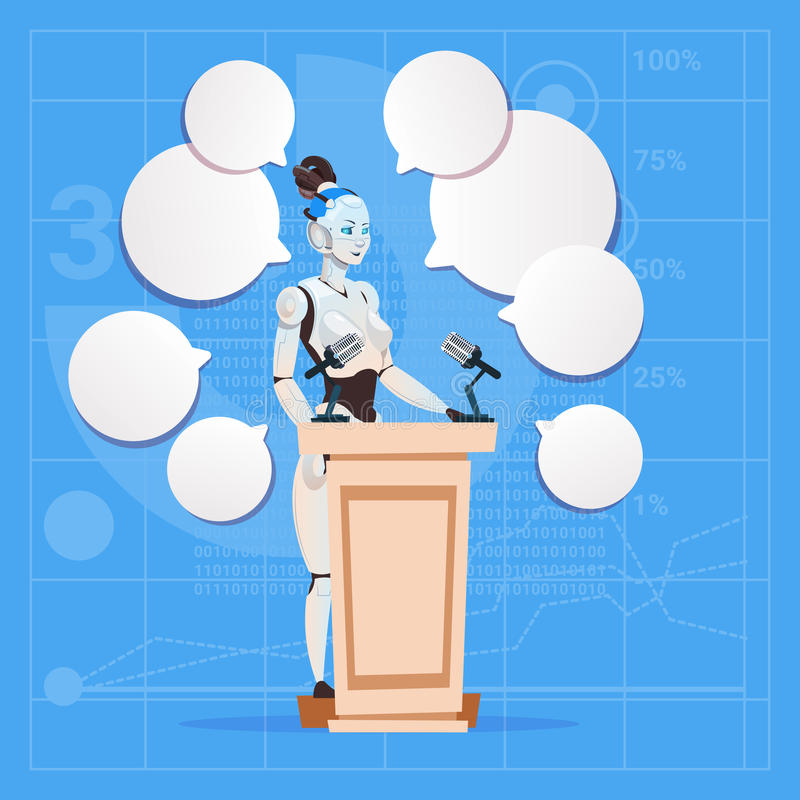 Kvinnlig högtalare för modern robot som ger intervjuställningen på begreppet för teknologi för konstgjord intelligens för podium  stock illustrationer