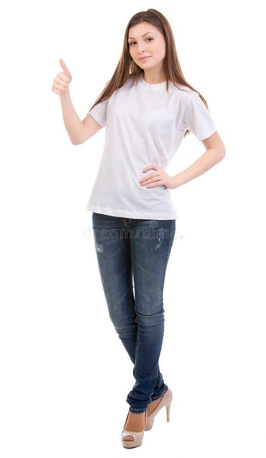 Kvinnlig ha på sig tom vitskjorta arkivbild