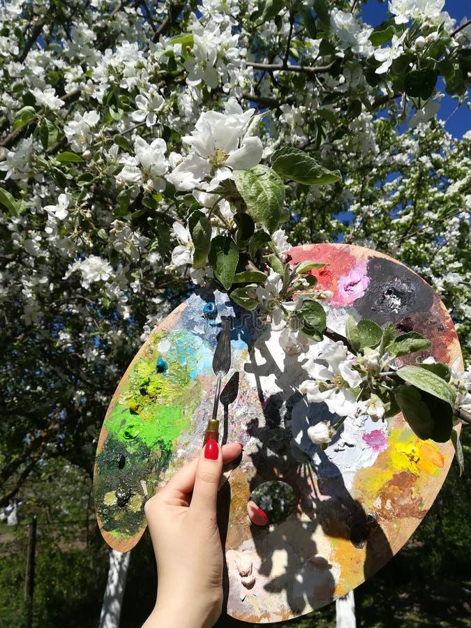 Kvinnlig hand med en palettkniv och en palett för målarfärger mot bakgrunden av att blomstra äppleträd arkivbild