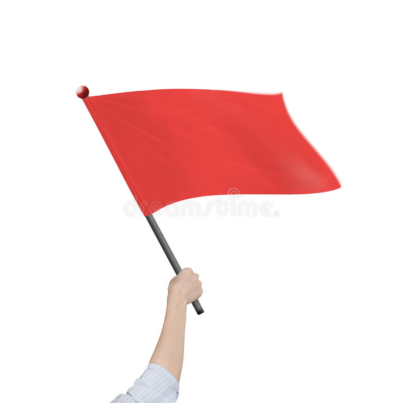 Kvinnlig hand som rymmer den röda flaggan isolerad på vit royaltyfria bilder