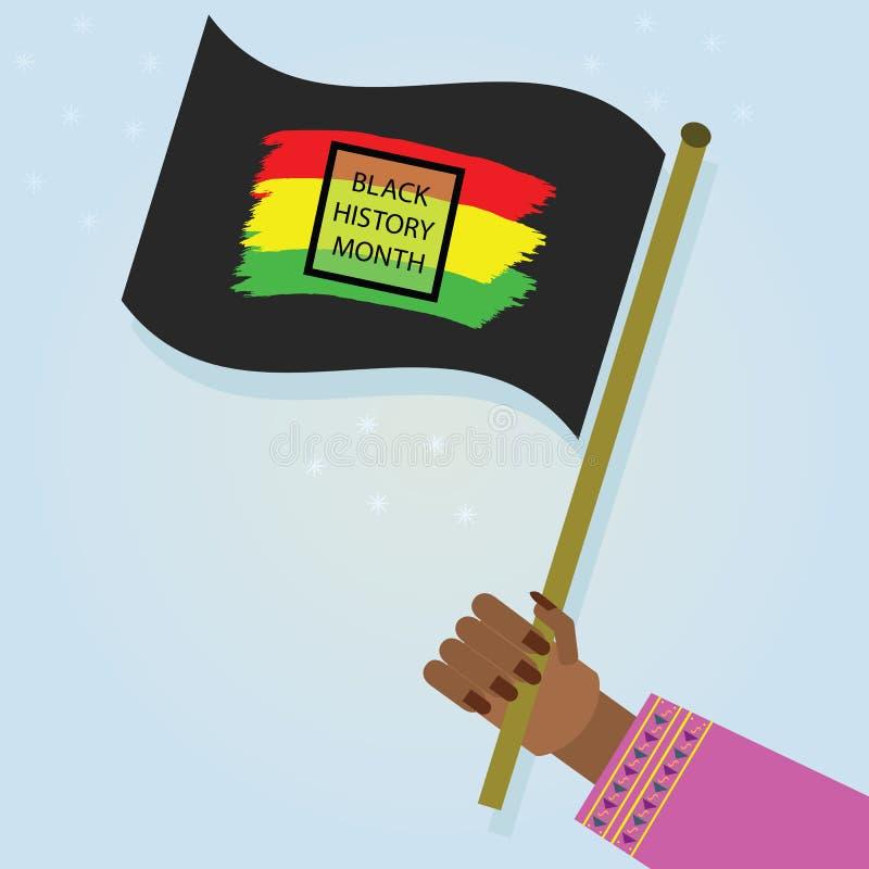 Kvinnlig hand som rymmer den vinkande svarta historiemånadflaggan med på blå lutningbakgrund vektor illustrationer
