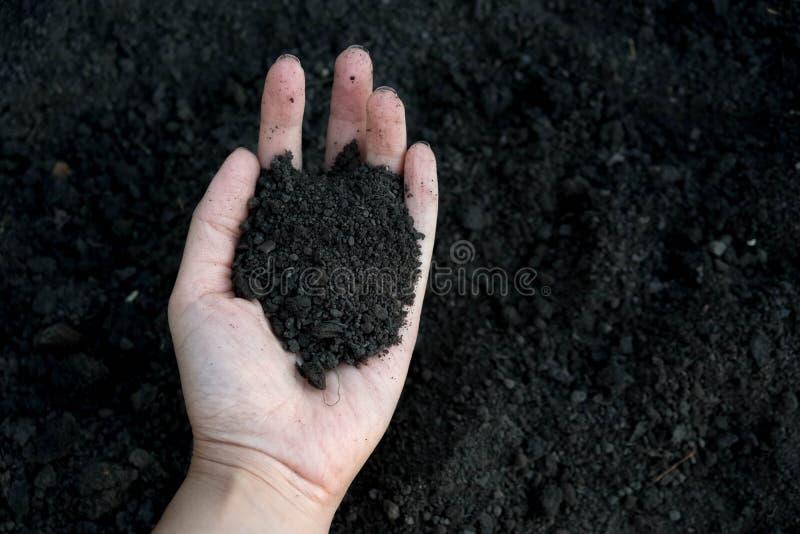 Kvinnlig hand som rymmer en rik fertil jord för handfull som har varit nygrävd över eller brukat i ett begrepp av beskydd arkivfoton