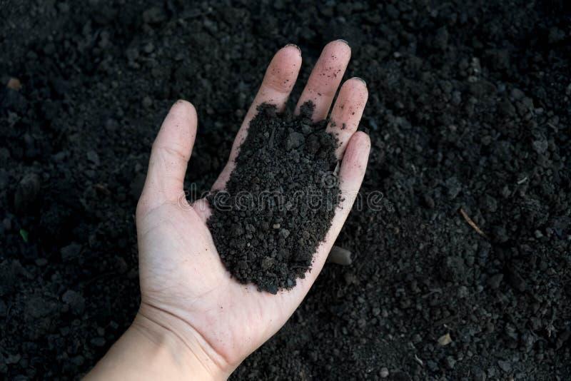 Kvinnlig hand som rymmer en rik fertil jord för handfull som har varit nygrävd över eller brukat i ett begrepp av beskydd av natu arkivfoton