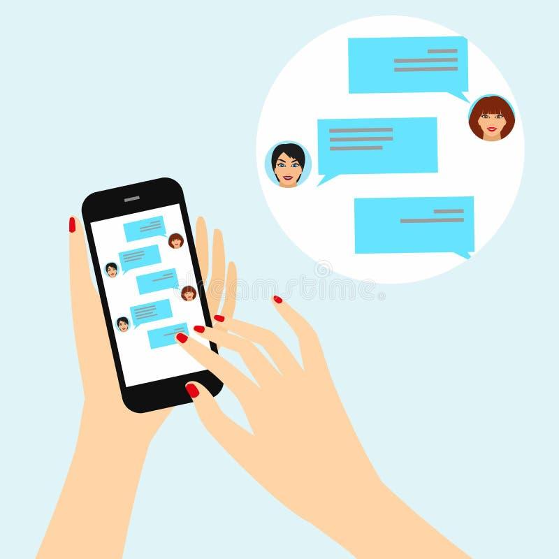 Kvinnlig hand som rymmer en smart telefon med en pratstund på skärmen royaltyfri illustrationer
