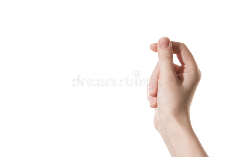 Kvinnlig hand som rymmer ett faktiskt kort arkivfoton