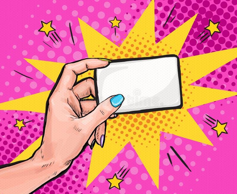 Kvinnlig hand som rymmer ett kort i stil för popkonst Bakgrund för popkonst Etikett för tetidtappning popkonst, design för popkon stock illustrationer