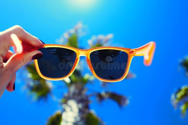 Kvinnlig hand som rymmer färgrik solglasögon mot palmträdet och blå solig himmel royaltyfri fotografi